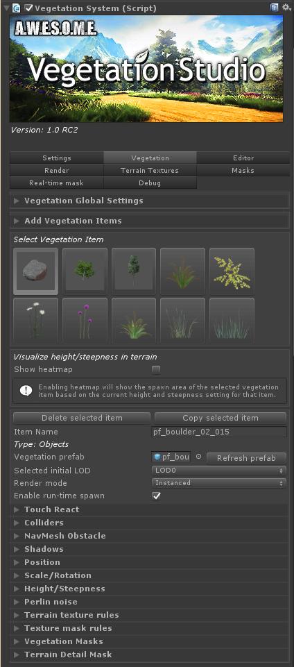 Vegetation System – Vegetation Tab | Awesome Technologies